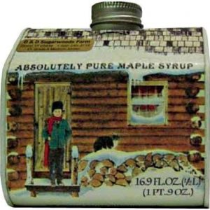 Vermont maple syrup log cabin tin - 16.9 oz - D&D Sugarwoods Farm - Glover VT