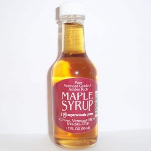 Vermont maple syrup in whisky nip glass bottle - D&D Sugarwoods Farm - Glover, Vermont